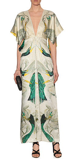 TEMPERLEY LONDON Etini bird-print satin kimono dress