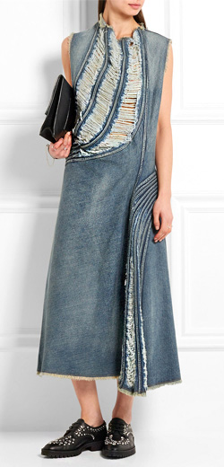 JUNYA WATANABE Distressed denim midi dress