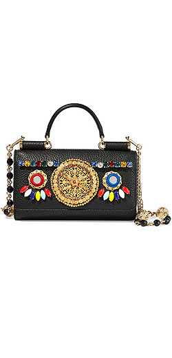DOLCE & GABBANA Embellished textured-leather iPhone wallet
