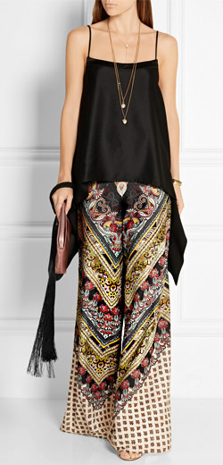 ALICE + OLIVIA Athena printed georgette wide-leg pants