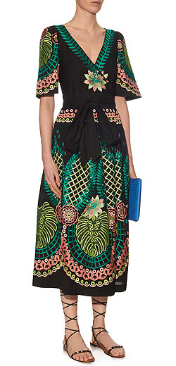 TEMPERLEY LONDON Arabelle embroidered midi wrap dress