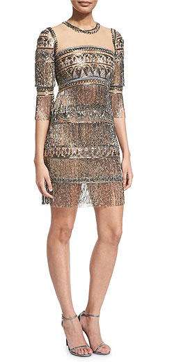 Naeem Khan 3/4-Sleeve Embroidered Fringe Cocktail Dress