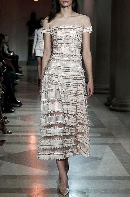 Carolina Herrera Short-Sleeve Tulle-Embroidered Midi Dress