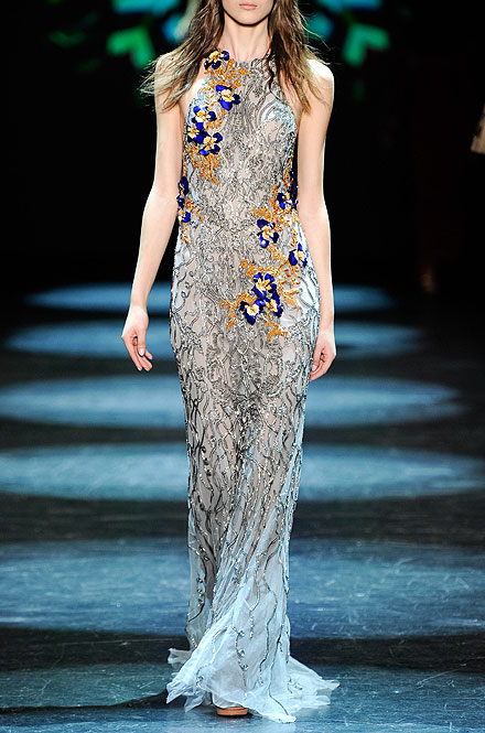 Monique Lhuillier Sleeveless Embroidered Column Gown
