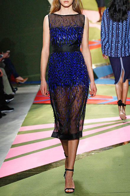 Lela Rose Sleeveless Fringe-Paillettes Midi Dress