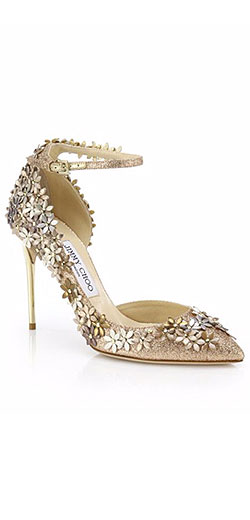 immy Choo Lorelai 100 Floral Glittered Leather Ankle-Strap Pumps