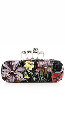 Alexander McQueen Floral Embroidered Knuckle Box Clutch