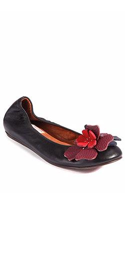 Lanvin Floral Leather Ballet Flats