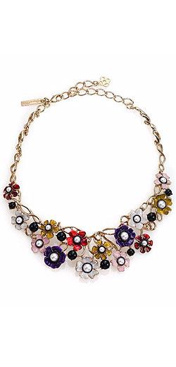 Oscar de la Renta Floral Resin & Faux Pearl Bib Necklace