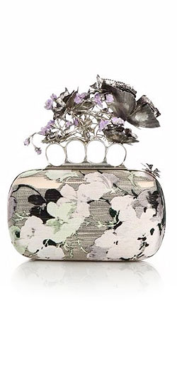 Alexander McQueen Floral Textile Knuckle Box Clutch