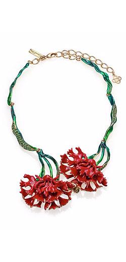 Oscar de la Renta Floral Crystal & Resin Necklace