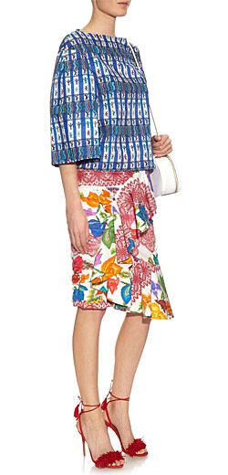 STELLA JEAN Ruffled floral-print cotton skirt