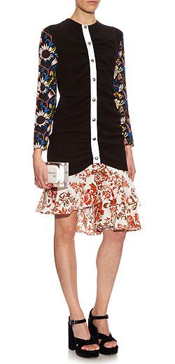 J.W. ANDERSON Multi floral-print ruffle-hem dress