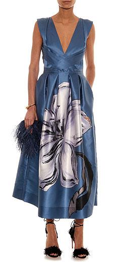 ROCHAS Magnolia-print duchess-satin gown
