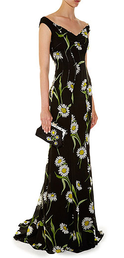 DOLCE & GABBANA Margherite-print off-the-shoulder gown