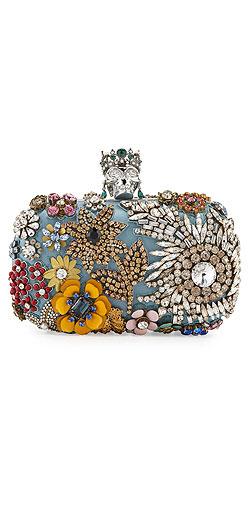 Alexander McQueen Classic Skull Silk Floral Clutch Bag