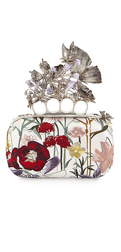 Alexander McQueen Flower-Embroidered Knuckle Box Clutch Bag