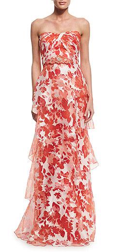 Badgley Mischka Strapless Floral Organza Gown