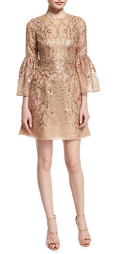 Marchesa Embroidered Bell-Sleeve Cocktail Dress