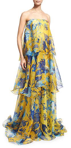 Sachin & Babi Noir Floral-Print Sleeveless Tiered Organza Gown
