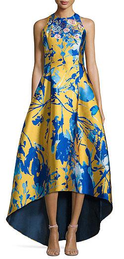 Sachin & Babi Noir Sleeveless Floral Jacquard High-Low Gown