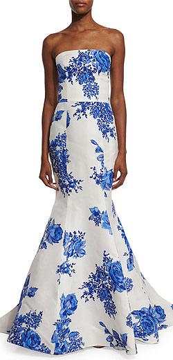 Monique Lhuillier Strapless Floral-Print Mermaid Gown