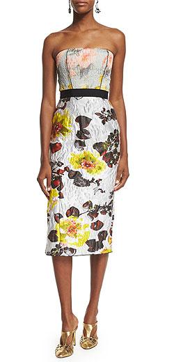 Oscar de la Renta Strapless Mixed-Floral Cocktail Dress