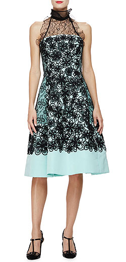 Oscar de la Renta Strapless Floral Fit-&-Flare Dress