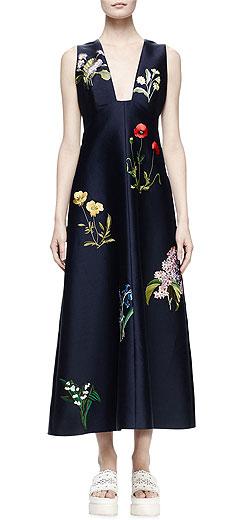 Stella McCartney Kaitlyn Floral-Embroidered Shantung Midi Dress