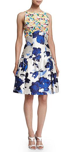 Oscar de la Renta Floral-Motif Mixed-Media Dress