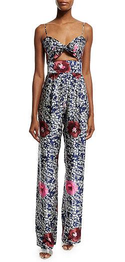 Johanna Ortiz Floral-Print Silk Tie-Front Jumpsuit