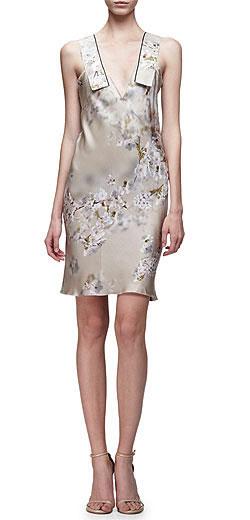 Calvin Klein Collection Sleeveless Floral-Print Satin Mini Dress