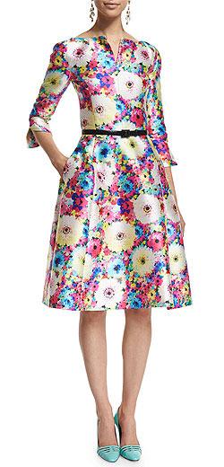 Oscar de la Renta 3/4-Sleeve Floral-Print Sateen Dress
