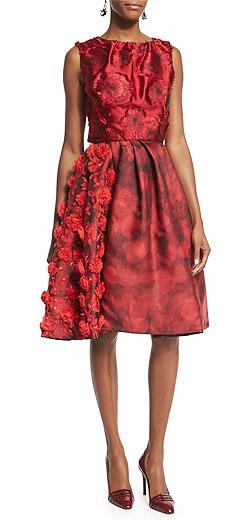 Oscar de la Renta Fil Coupé Floral Embellished Silk Dress