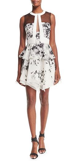 J. Mendel Sleeveless Floral-Print Silk Peplum Dress