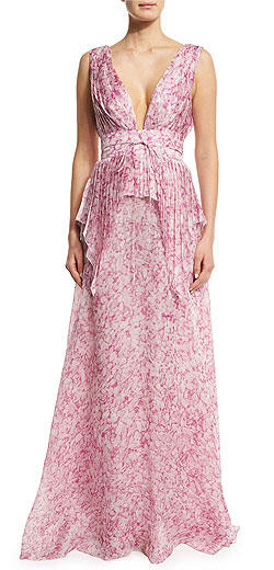 Carolina Herrera Sleeveless V-Neck Floral-Print Silk Gown