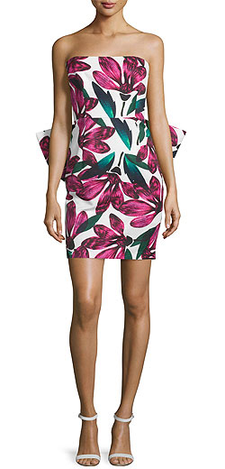 Milly Strapless Floral-Print Dress w/Oversized Bow