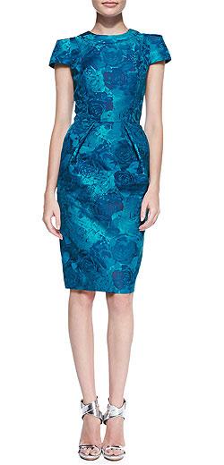 Carmen Marc Valvo Short-Sleeve Floral Jacquard Sheath Dress