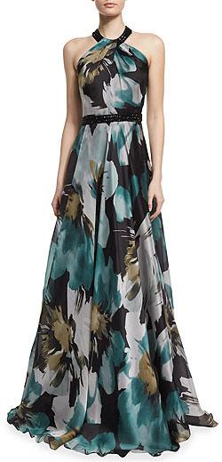 Carmen Marc Valvo Embellished Floral Silk Gown
