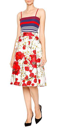 Dolce & Gabbana Striped Silk Spaghetti-Strap Top & Floral-Print Faille Party Skirt