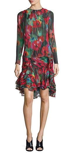 Jason Wu Floral Print Silk Chiffon Blouse