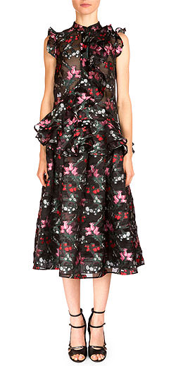 Erdem Camelia Sleeveless Ruffled Floral-Print Top