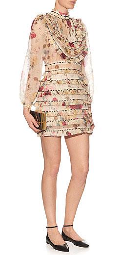 ZIMMERMANN Mischief floral-print pleated silk-organza dress