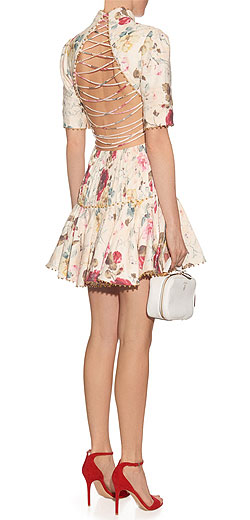 ZIMMERMANN Mischief floral-print pleated linen dress