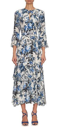 ERDEM Florence Hill Garden-print silk dress