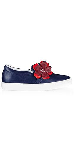 LANVIN Floral appliqué leather slip-on trainers