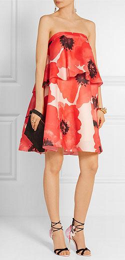 LELA ROSE Tiered floral-print silk-gazar dress