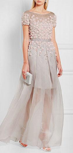 JENNY PACKHAM Floral-appliquéd silk-organza gown