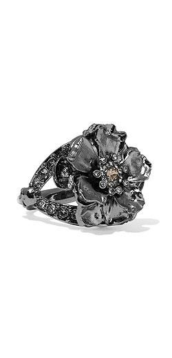 ALEXANDER MCQUEEN Floral gunmetal-tone Swarovski crystal ring