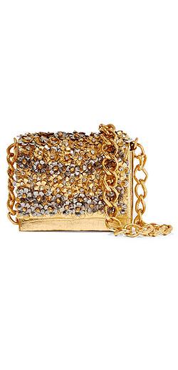 NANCY GONZALEZ Metallic floral-appliquéd crocodile shoulder bag